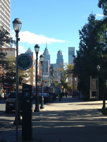 A view of the Philly skyline from Penn campus